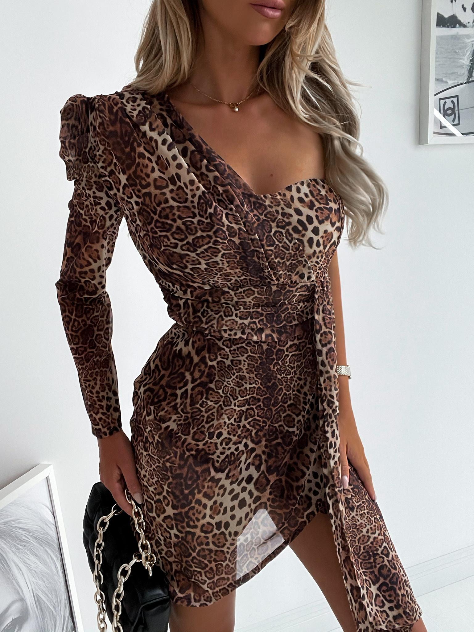 Sukienka Sophia naked arm panters/brown