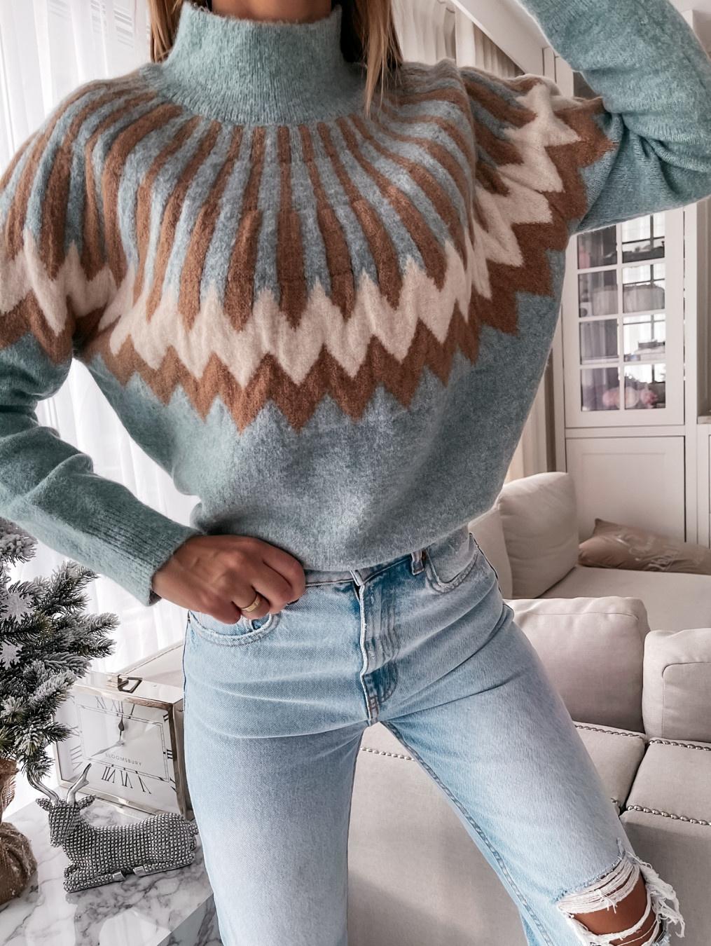 Sweter Zig Zag turquoise/camel
